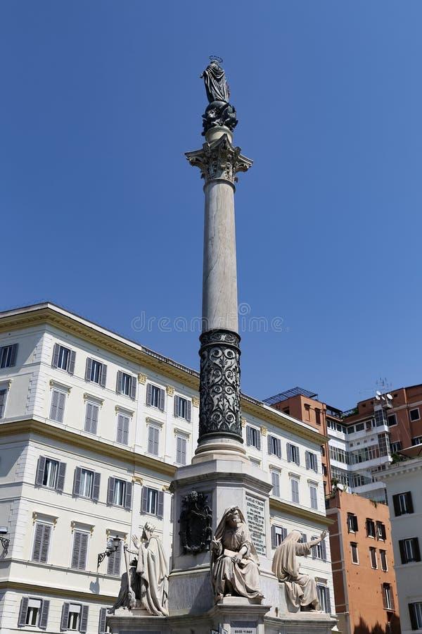 Kolumna Niepokalany poczęcie w Rzym, Włochy obrazy stock