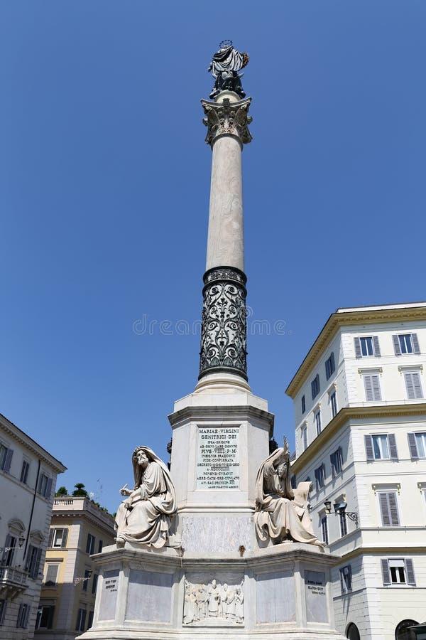 Kolumna Niepokalany poczęcie w Rzym, Włochy obraz stock