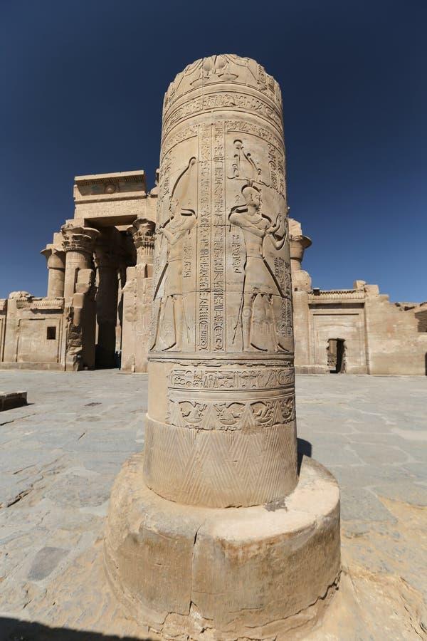 Kolumna w Kom Ombo świątyni, Aswan, Egipt zdjęcie stock