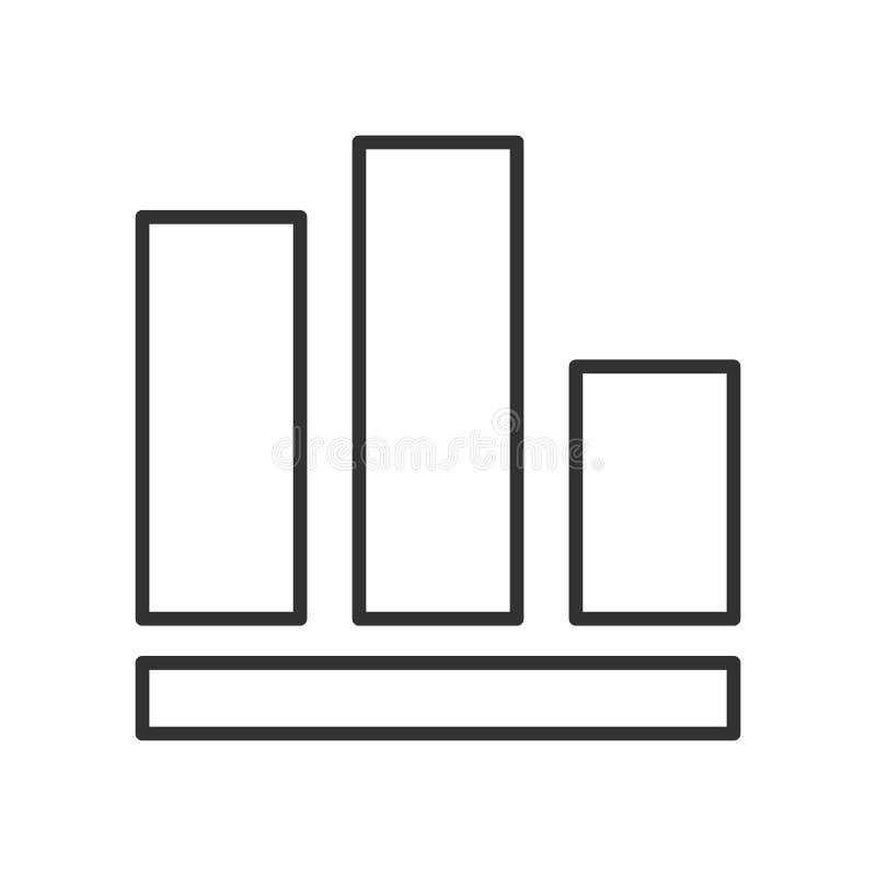 Kolumna wykresu konturu Płaska ikona na bielu ilustracji