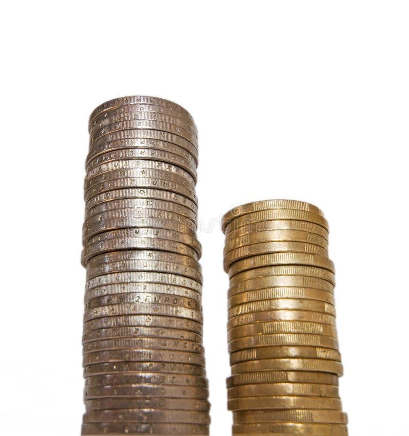 Kolumny euro monety zdjęcie royalty free
