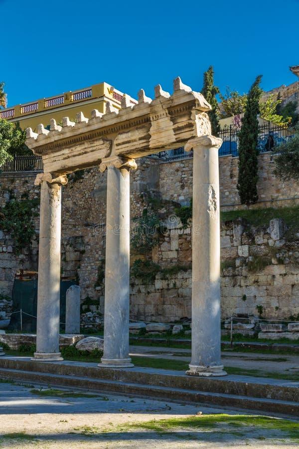 Kolumny przy Romańską agorą w Ateny obrazy stock