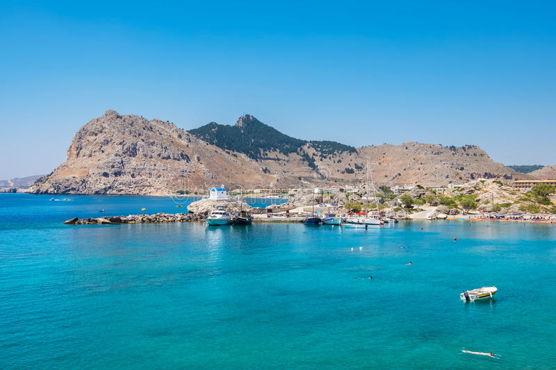 Kolymbia coastline. Rhodes, Greece. View of Kolymbia bay and coast. Rhodes, Dodecanese Islands, Greece stock images