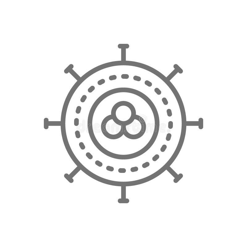 Komórka nowotworowa, wirus, infekcja, onkologii kreskowa ikona ilustracja wektor