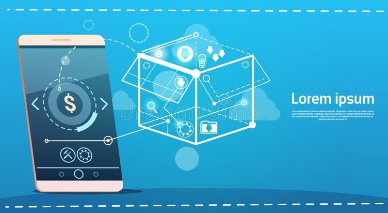 Komórka telefonu Brainstorming odprawy Mądrze pomysłu pojęcia biznesu Kreatywnie sztandar ilustracji