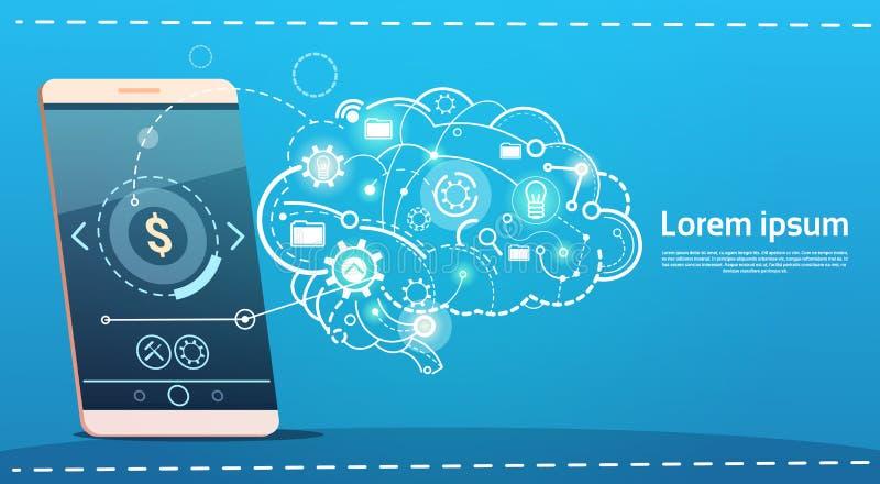 Komórka telefonu Brainstorming odprawy Mądrze pomysłu pojęcia biznesu Kreatywnie sztandar ilustracja wektor