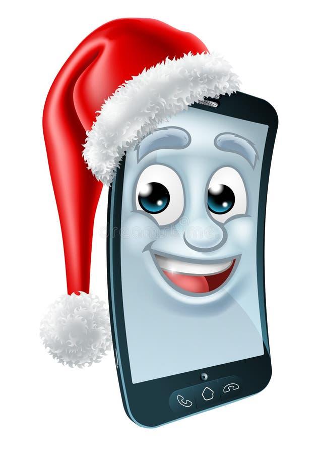 Komórka telefonu komórkowego Bożenarodzeniowa maskotka w Santa kapeluszu ilustracja wektor