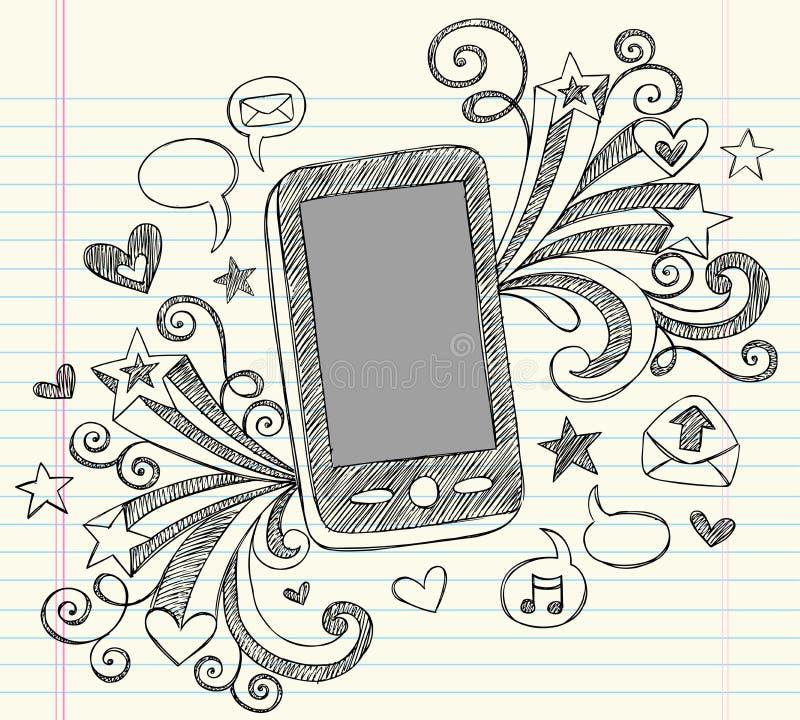 komórki doodles pda telefonu szkicowy wektor ilustracja wektor