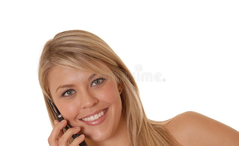 komórki dziewczyny uroczy telefon obrazy stock