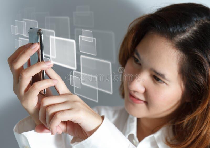 komórki mobilny nowy telefonu dotyk zdjęcie stock
