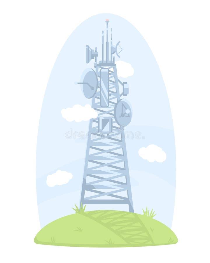 Komórki wierza z antenami i antenami satelitarnymi ilustracji
