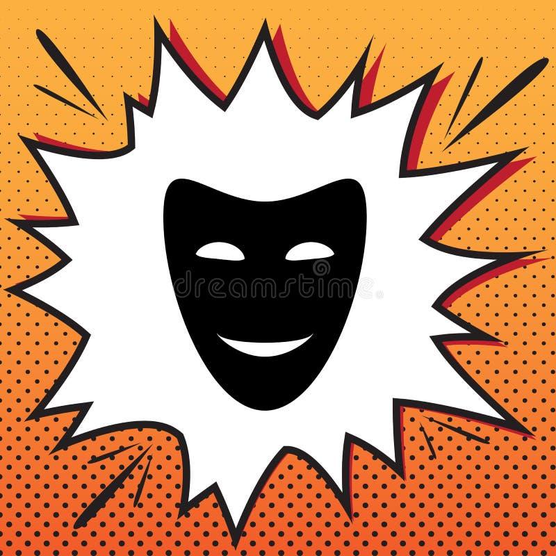 Komödientheater--Masken Vektor Comicsartikone auf Pop-Arten-Ba stock abbildung