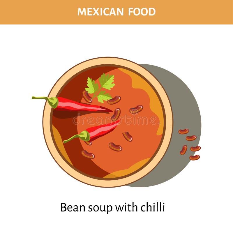 Kom bonesoep met Spaanse pepers van Mexicaans voedsel royalty-vrije illustratie