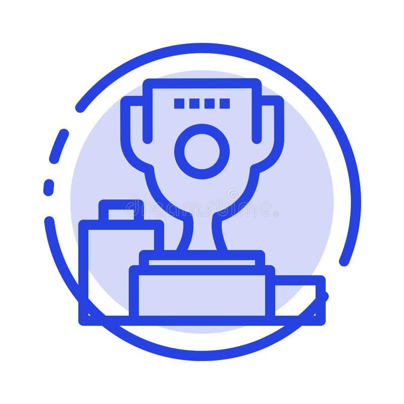 Kom, Ceremonie, Kampioen, Kop, de Lijnpictogram van de Drinkbeker Blauw Gestippelde Lijn vector illustratie