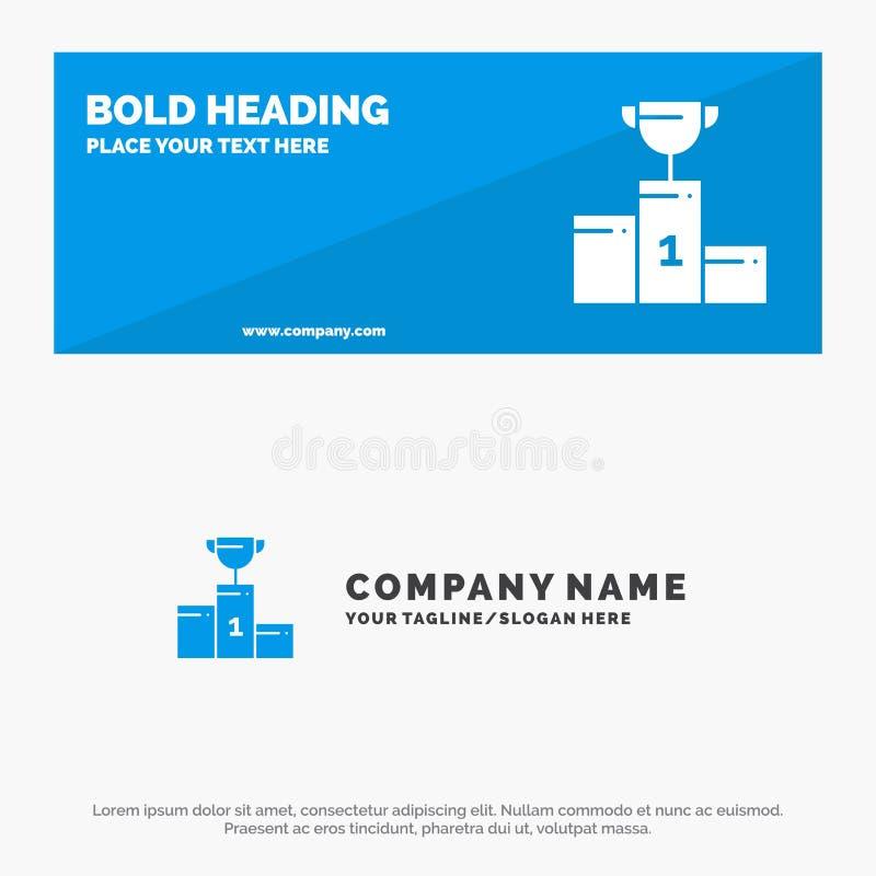 Kom, Ceremonie, Kampioen, Kop, de Websitebanner en Zaken Logo Template van het Drinkbeker Stevige Pictogram vector illustratie