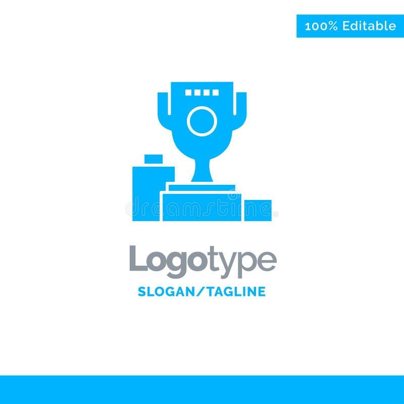 Kom, Ceremonie, Kampioen, Kop, Drinkbeker Blauw Stevig Logo Template Plaats voor Tagline royalty-vrije illustratie