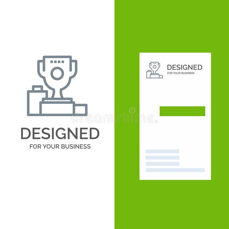 Kom, Ceremonie, Kampioen, Kop, Drinkbeker Grey Logo Design en Visitekaartjemalplaatje vector illustratie