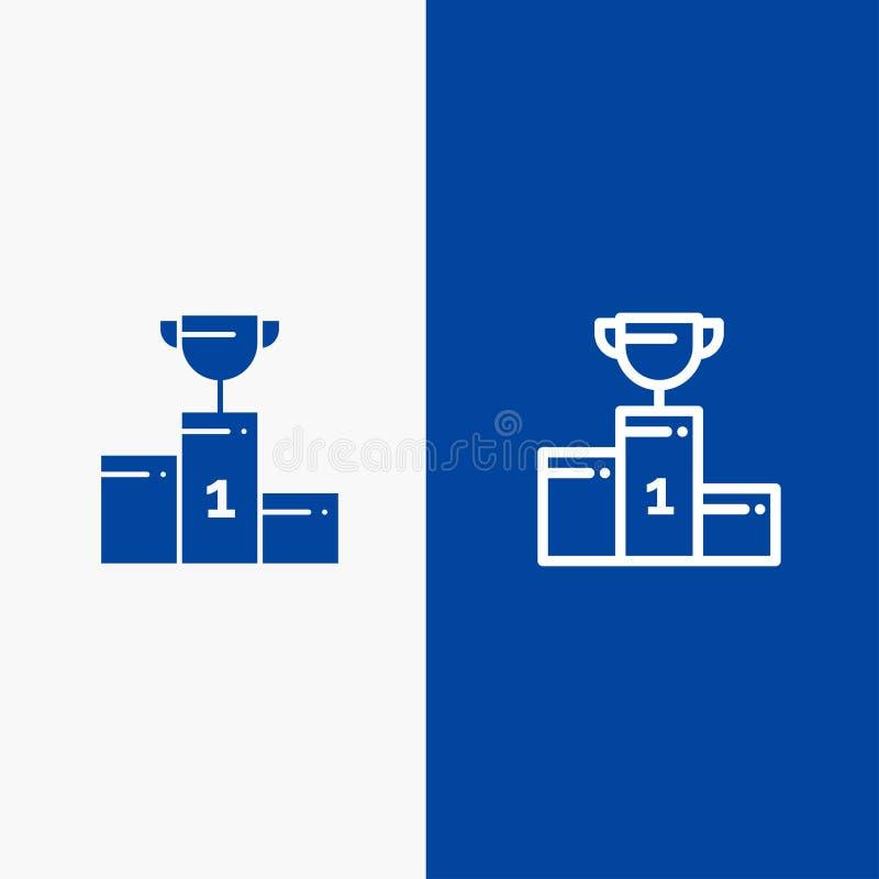 Kom, Ceremonie, Kampioen, Kop, Drinkbekerlijn en Lijn van de het pictogram Blauwe banner van Glyph de Stevige en Stevige het pict vector illustratie