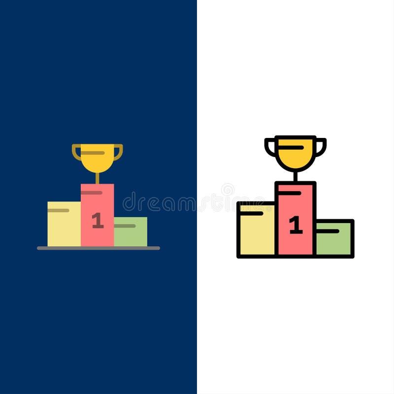 Kom, Ceremonie, Kampioen, Kop, Drinkbekerpictogrammen Vlak en Lijn vulde Pictogram Vastgestelde Vector Blauwe Achtergrond royalty-vrije illustratie