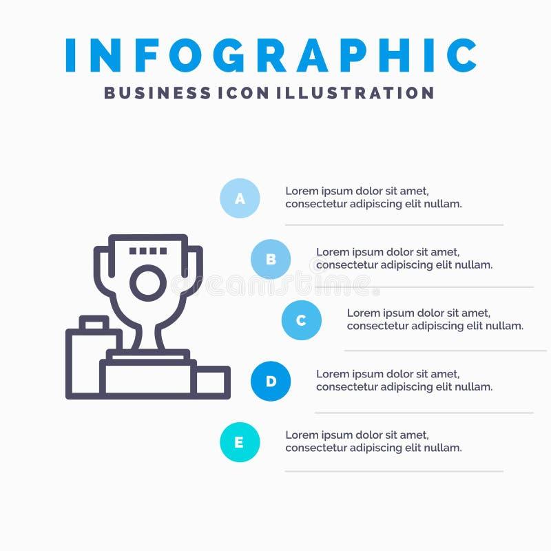 Kom, Ceremonie, Kampioen, Kop, het pictogram van de Drinkbekerlijn met infographicsachtergrond van de 5 stappenpresentatie vector illustratie