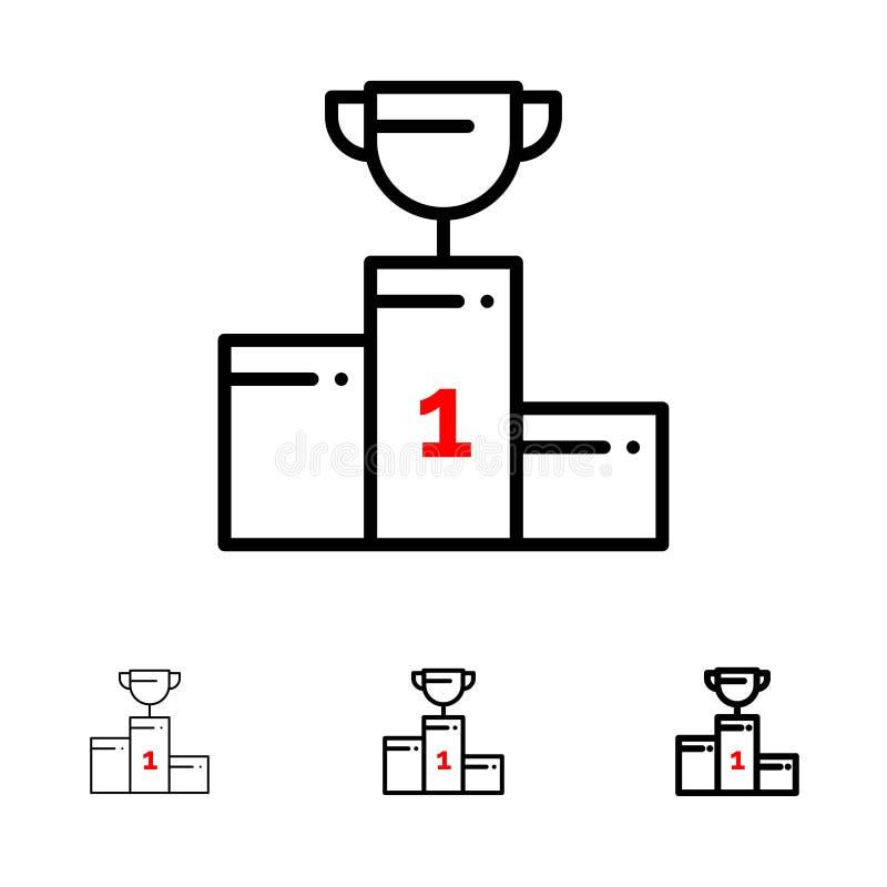 Kom, Ceremonie, Kampioen, Kop, het pictogramreeks van de Drinkbeker Gewaagde en dunne zwarte lijn stock illustratie