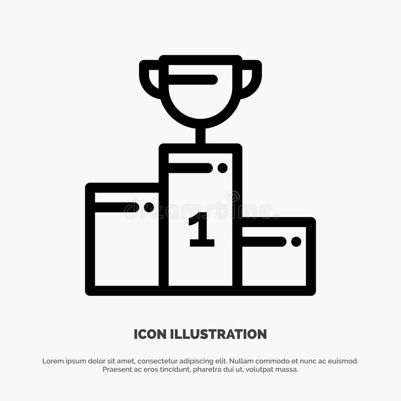 Kom, Ceremonie, Kampioen, Kop, het Pictogramvector van de Drinkbekerlijn vector illustratie