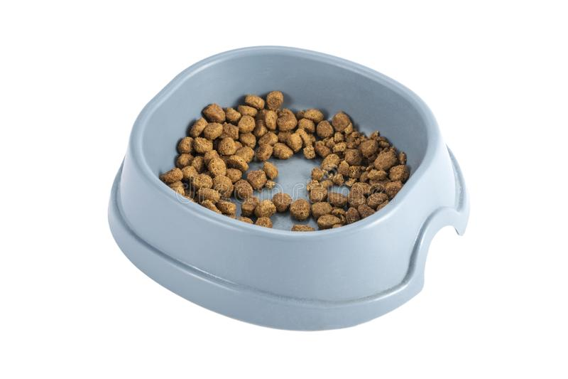 Kom droog kattenvoedsel stock afbeeldingen