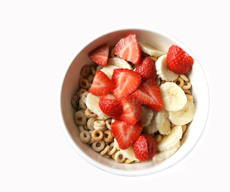Kom graangewas met fruit stock afbeeldingen