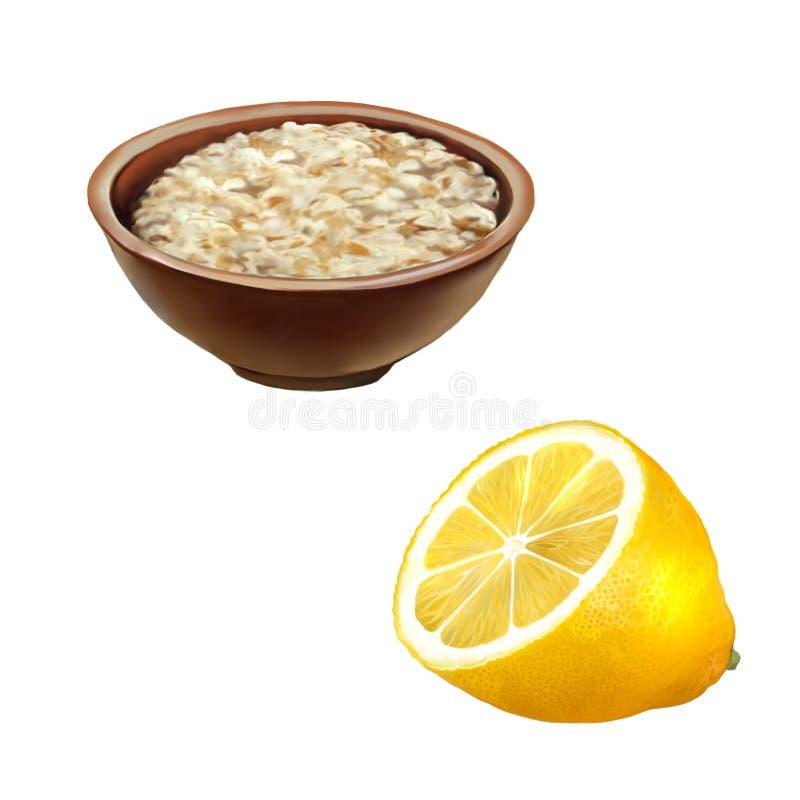 Kom haverhavermoutpap Gezond ontbijt, citroen royalty-vrije stock foto