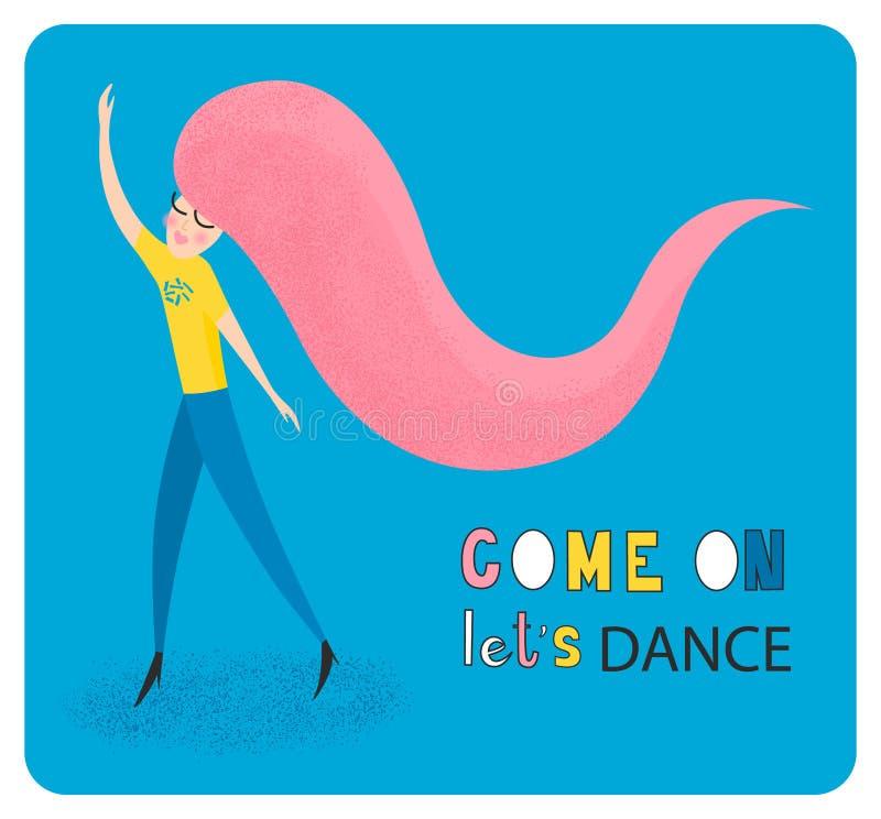 Kom laten ons holen Dansende meisjes vectorillustratie Danspartij royalty-vrije illustratie