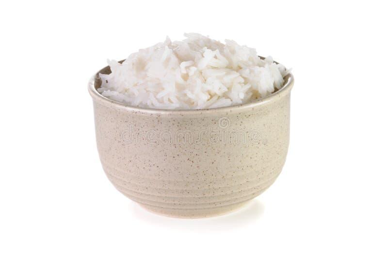 Kom met gekookte rijst royalty-vrije stock afbeeldingen