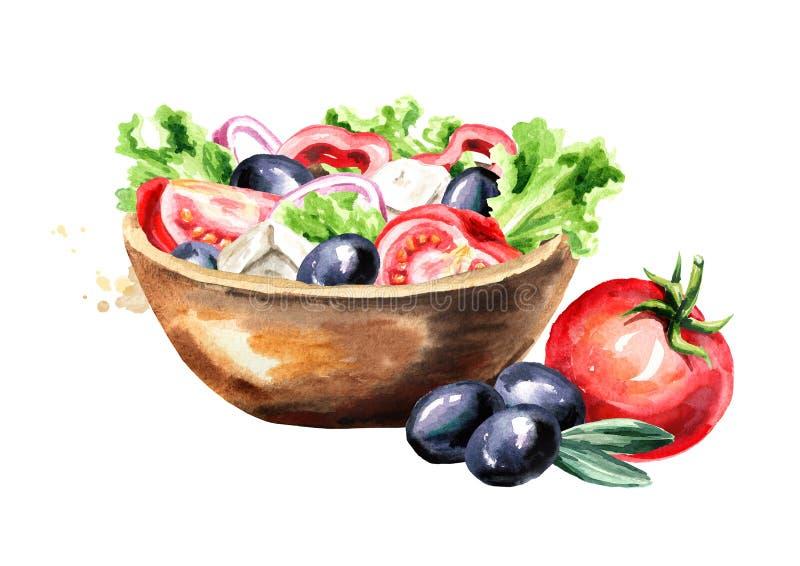 Kom met Griekse salade met verse groenten en feta-kaas Waterverfhand getrokken die illustratie, op witte achtergrond wordt geïsol stock illustratie