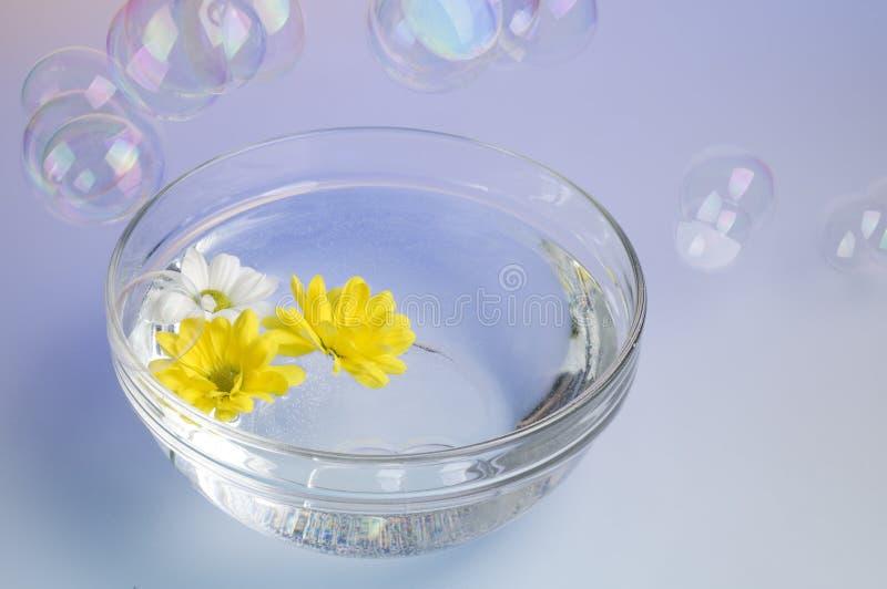 Kom met opgeloste overzeese zout en bloemen. royalty-vrije stock afbeeldingen