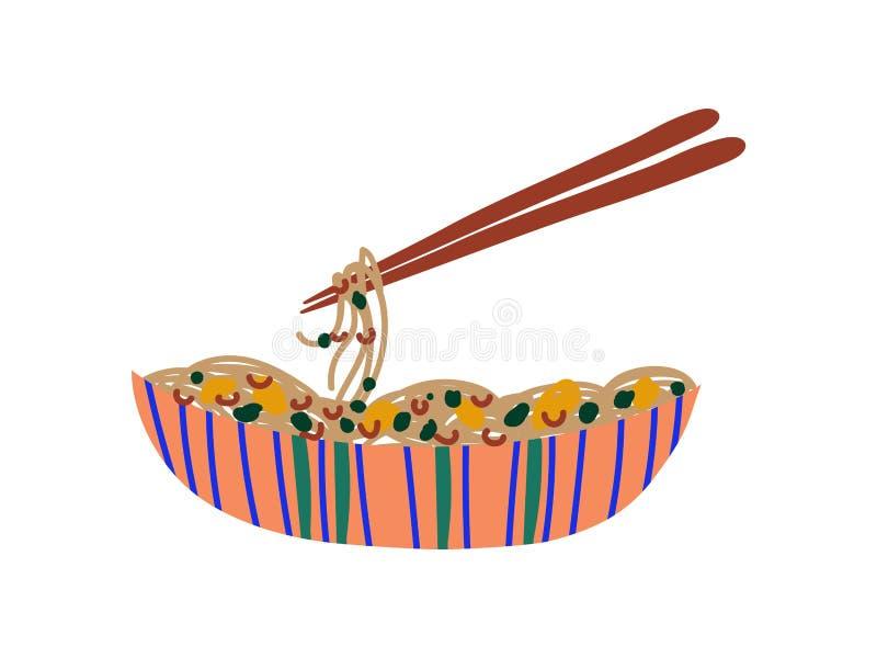 Kom Noedels met Groenten en Eetstokjes, Chinees of Japans Voedsel, Ramen-Noedels Vectorillustratie vector illustratie