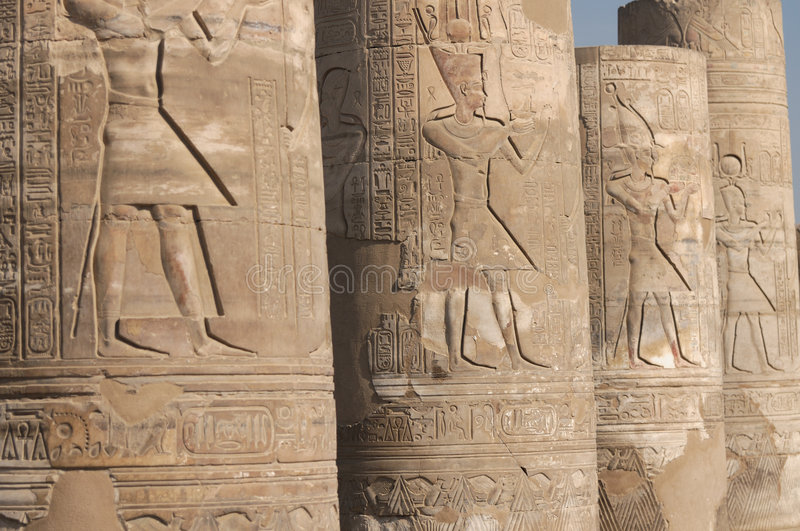 Kom Ombo temple. Reliefs on columns in Kom Ombo temple, Egypt stock photos