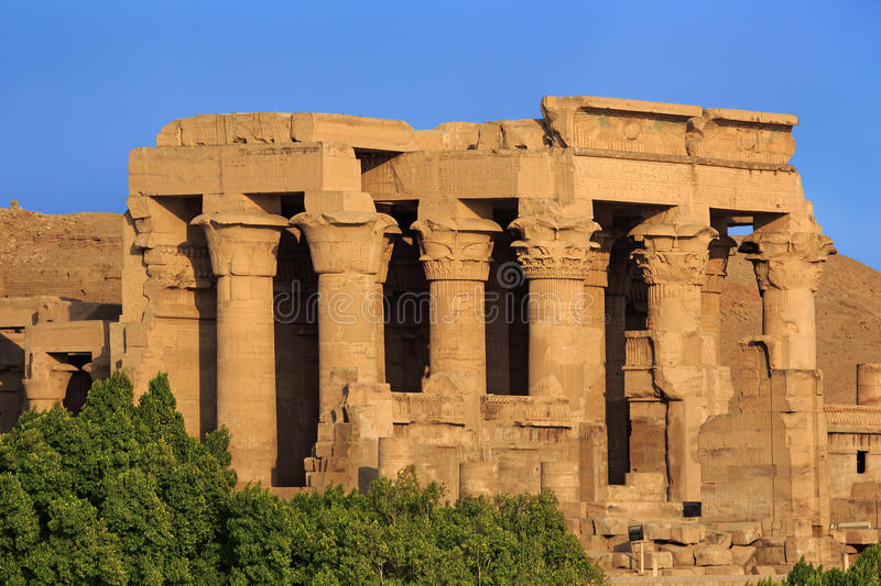 Kom Ombo Temple. Egypt. Kom Ombo. The Temple of Sobek and Haroeris built during the Ptolemaic dynasty - the Hypostyle Hall with floral capitals on the top of stock image