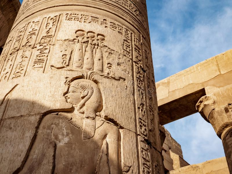 Kom Ombo Temple hieroglyphs from the Ptolemy dynasty. The temple is also known as the Crocodile Temple or Sobek Temple stock photography