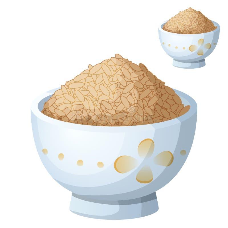 Kom ongepelde rijst op witte achtergrond wordt geïsoleerd die stock illustratie