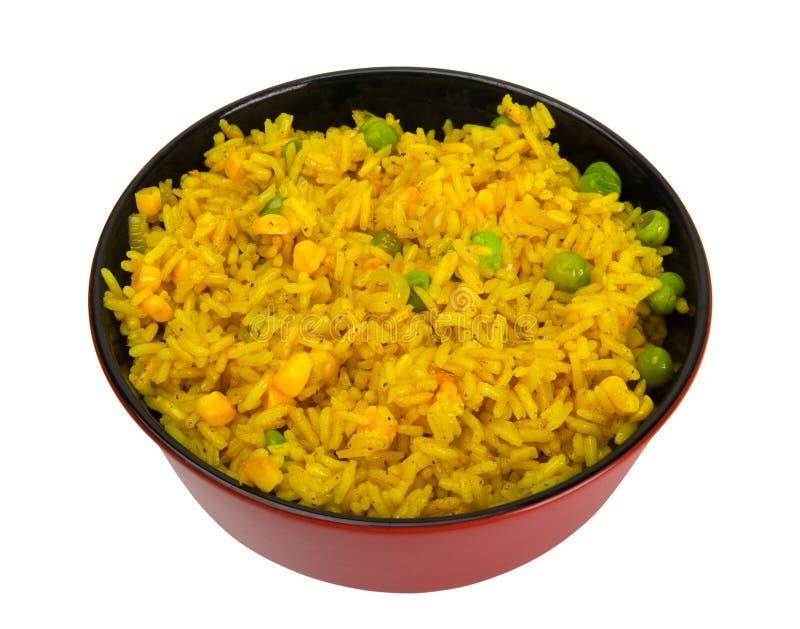 Kom rijst met erwten en graan royalty-vrije stock afbeelding