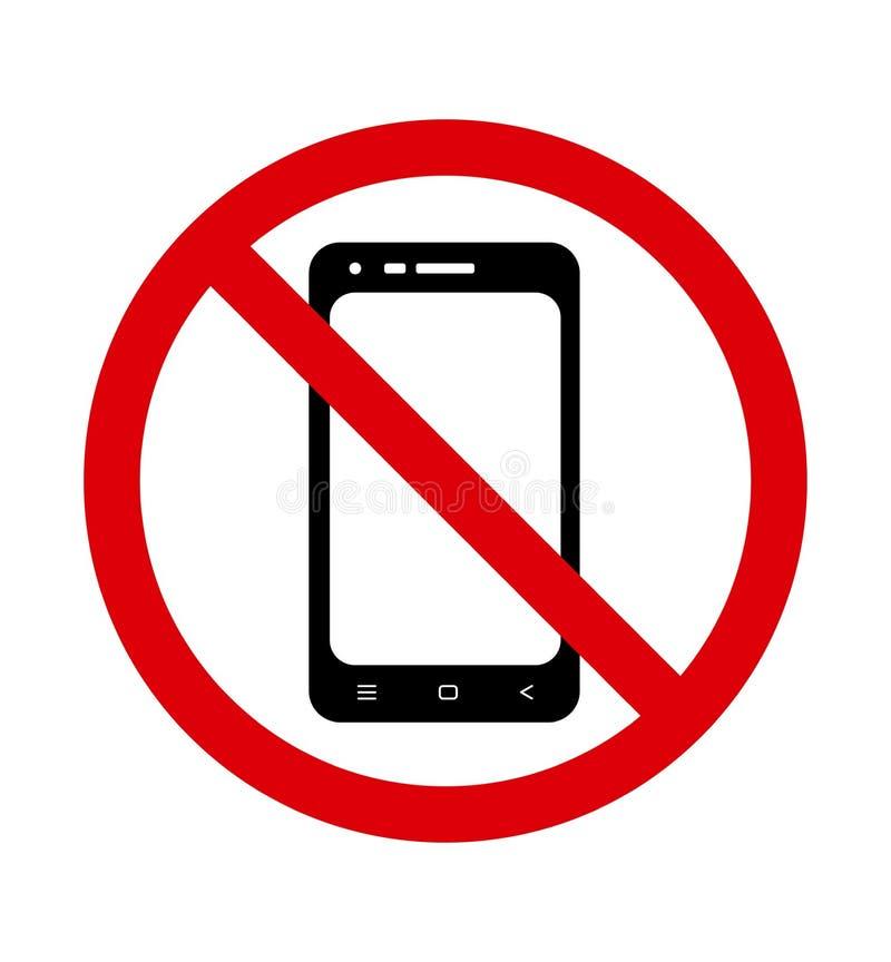 kom?rka telefonu ?adny znak Zakazujący używać telefon wektor royalty ilustracja