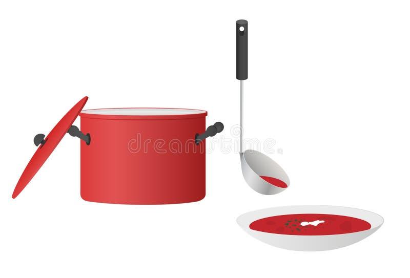 Kom soep Borscht met braadpan en pollepel stock illustratie