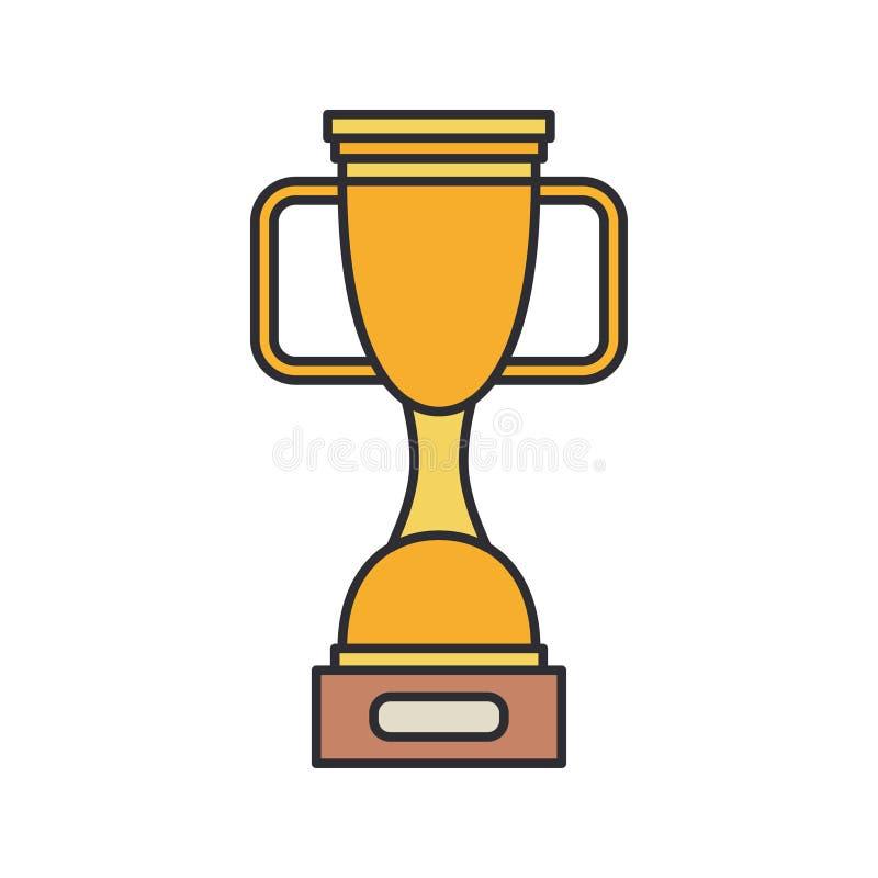 Kom van de lijn de vectorkleur, de toekenningspictogram van de winnaarkop Sportmateriaal, successymbool De atletische concurrenti stock illustratie
