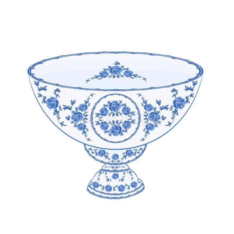 Kom van de vector van de fruitfaïence royalty-vrije illustratie