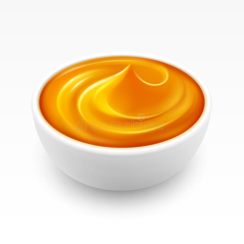 Kom van dichte Amber Honey Isolated op Witte Achtergrond vector illustratie