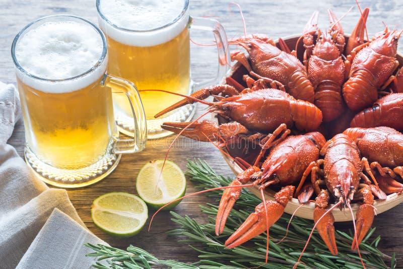 Kom van gekookte rivierkreeften met twee mokken bier royalty-vrije stock foto