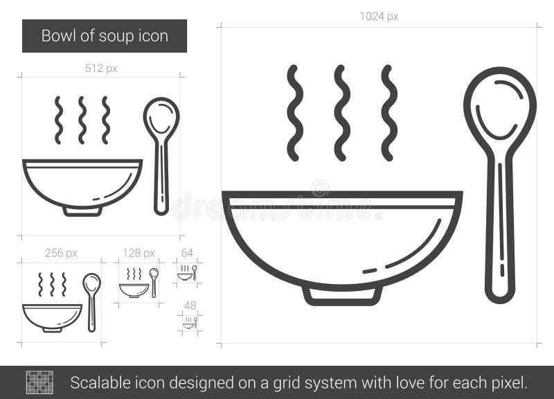 Kom van het pictogram van de soeplijn vector illustratie