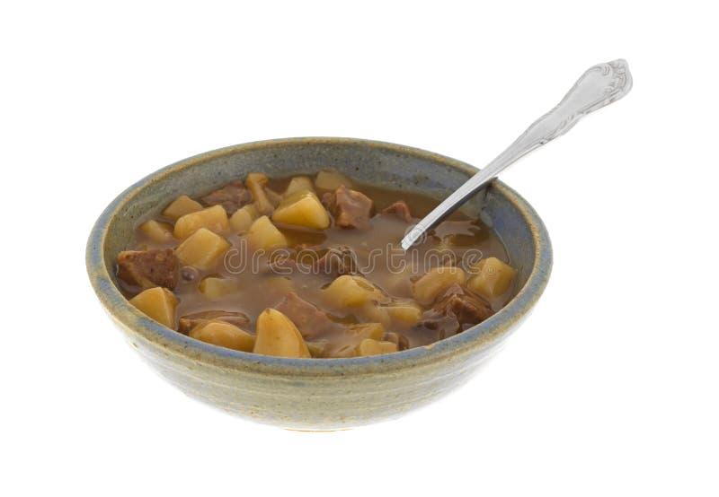 Kom van lapje vlees en aardappelshutspot royalty-vrije stock foto