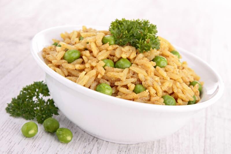 Kom van rijst en erwt royalty-vrije stock afbeelding