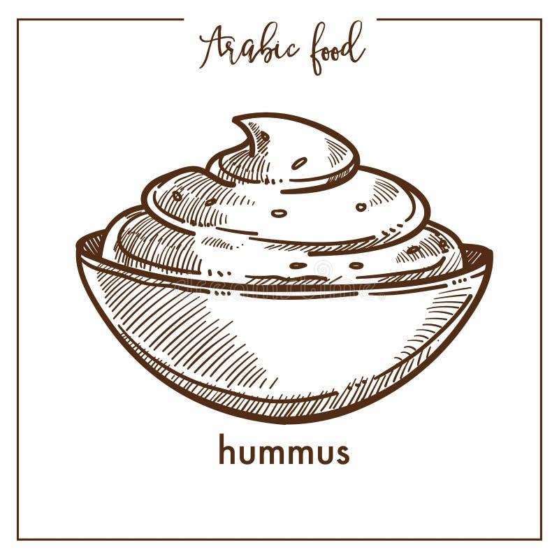 Kom van romige hummus van traditioneel Arabisch voedsel royalty-vrije illustratie