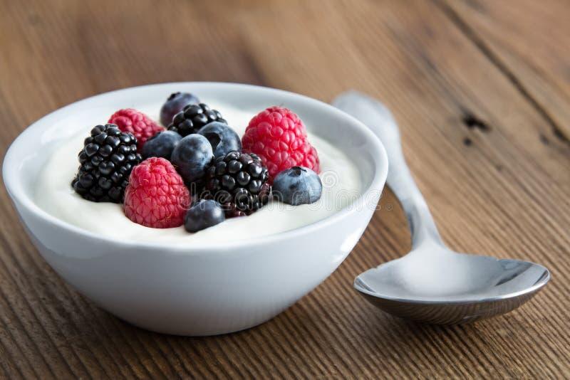 Kom verse gemengde bessen en yoghurt royalty-vrije stock fotografie